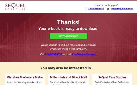 Screenshot of Landing Page sequeldm.com - SeQuel Thank-You - captured March 31, 2018