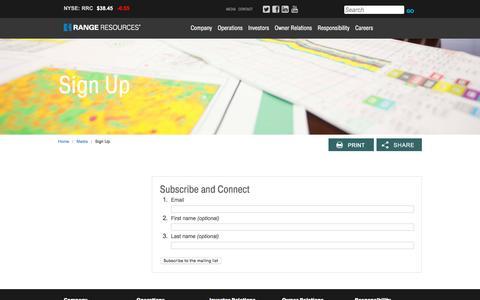 Screenshot of Signup Page rangeresources.com - Sign Up - captured Oct. 7, 2016