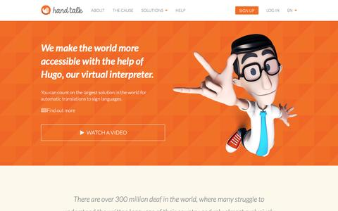 Screenshot of Home Page handtalk.me - Hand Talk - captured Feb. 18, 2016