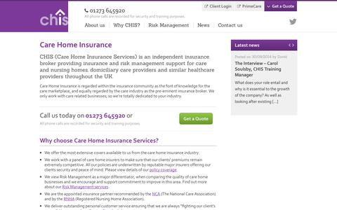 Screenshot of Site Map Page care-home-insurance.co.uk - CHIS - Care Home Insurance - CHIS for Care Home Insurance - captured Oct. 1, 2014