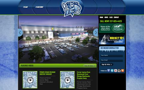 Screenshot of Home Page indianaice.com - Indianapolis, IN   Indiana Ice - captured Oct. 6, 2014