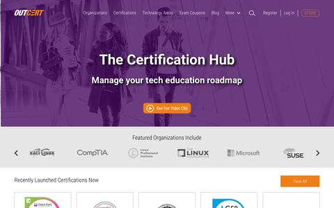 Screenshot of Home Page outcert.com - Certification hub for professionals and student - OUTCERT - captured Oct. 21, 2018