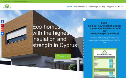 Screenshot of Home Page ecotek.com.cy - Home | Ecotek Green Living - captured Nov. 10, 2018