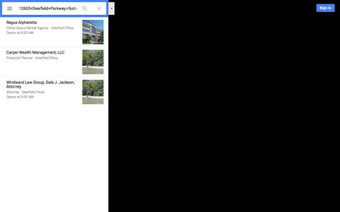 Screenshot of Maps & Directions Page google.com - 12600+Deerfield+Parkway,+Suite+100-A,Alpharetta,+GA+30004 - Google Maps - captured Aug. 2, 2016