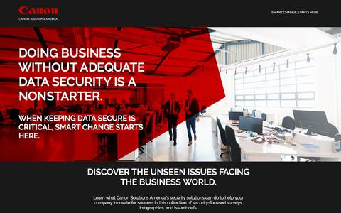 Screenshot of Landing Page canon.com - Canon Solutions America   Smart Change Starts Here for General Business - captured May 29, 2018