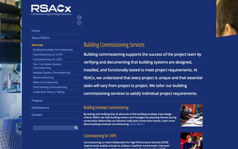 Screenshot of Services Page rsacx.com - Building Commissioning Services | RSACx - captured Sept. 26, 2014