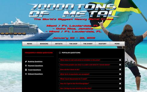 Screenshot of FAQ Page 70000tons.com - Popular Questions | 70000TONS OF METAL - The World's Biggest Heavy Metal Cruise - captured Oct. 30, 2014