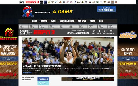 Screenshot of Contact Page abalive.com - American Basketball Association - captured Oct. 4, 2014