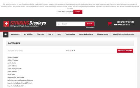 Screenshot of Site Map Page strikingdisplays.co.uk - Site Map - captured Oct. 20, 2018