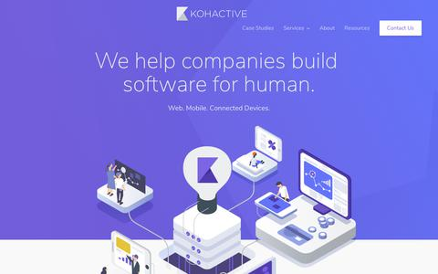 Screenshot of Home Page kohactive.com - Web Design, Web Develoment, Custom Software Development - captured Sept. 14, 2018