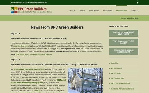 Screenshot of Press Page bpcgreenbuilders.com - News from BPC Green Builders of CT & NY - captured Dec. 28, 2015