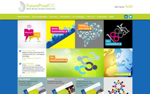 Screenshot of Home Page futureproofcic.com - Better Business, Stronger Communities - Future Proof CIC - captured Jan. 21, 2015