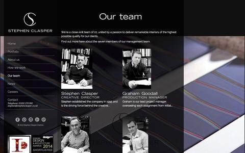 Screenshot of Team Page stephenclasper.co.uk - Our team - Stephen Clasper Interiors - captured Nov. 4, 2014