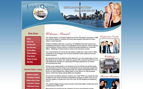 Screenshot of Home Page jubileequeencruises.ca - Toronto Boat Cruises - Toronto Harbour Cruises - Toronto Dinner Cruise - Boat Jubilee Queen Cruises Boat Harbour - captured Sept. 30, 2014