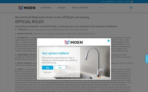 Screenshot of Terms Page moen.com - Moen Preference Quiz Terms - captured July 7, 2017
