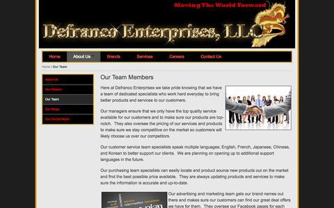Screenshot of Team Page defrancoenterprises.com - Our Team - captured Nov. 3, 2014