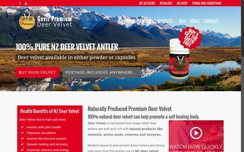 Screenshot of Home Page gevir.co.nz - Deer velvet | Antler extract NZ > Gevir Premium - captured Jan. 26, 2015