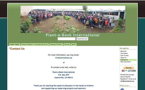Screenshot of Contact Page google.com - *Contact Us - Plant-a-Book International - captured June 12, 2016