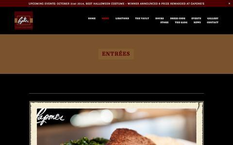Screenshot of Menu Page caponesalameda.com - ENTRÉES — Capone's Speakeasy - captured Nov. 1, 2014
