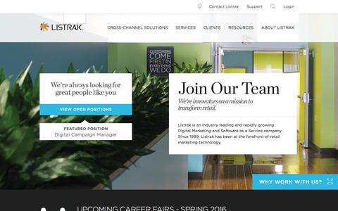 Screenshot of Jobs Page listrak.com - Careers   Join Our Team   Listrak - captured March 2, 2016