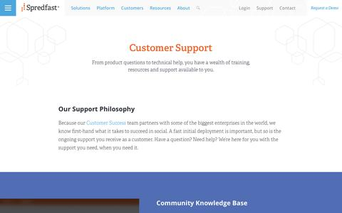 Screenshot of Support Page spredfast.com - Customer Support | Spredfast - captured May 26, 2017