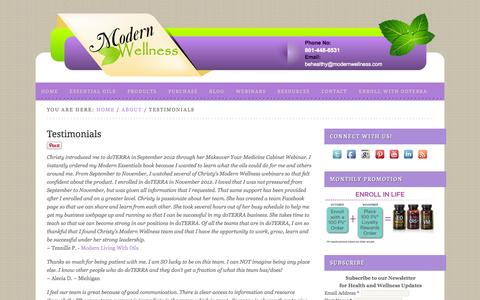 Screenshot of Testimonials Page modernwellness.com - Testimonials - captured Oct. 26, 2014