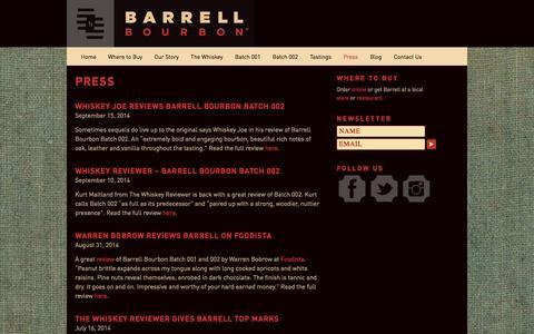 Screenshot of Press Page barrellbourbon.com - Press - captured Sept. 30, 2014