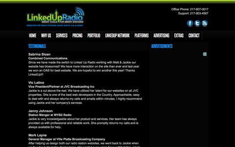 Screenshot of Testimonials Page linkedupradio.com - Testimonials - LinkedUpRadio - captured Dec. 10, 2015