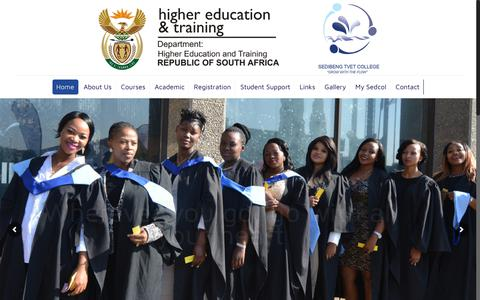 Screenshot of Home Page sedcol.co.za - Sedibeng TVET College - captured Sept. 29, 2017