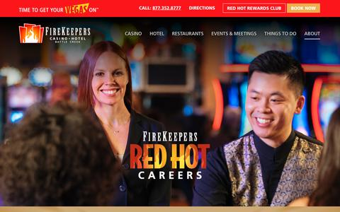 Screenshot of Jobs Page firekeeperscasino.com - Red Hot Careers - Firekeepers Casino Hotel - captured Oct. 6, 2019
