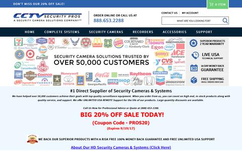 Screenshot of Home Page cctvsecuritypros.com - CCTV Security Pros | CCTV Cameras and Security Camera Systems - captured Sept. 18, 2017