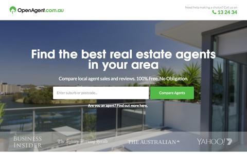 Screenshot of Home Page openagent.com.au - Find and Compare the Best Real Estate Agents - OpenAgent - captured Nov. 14, 2015
