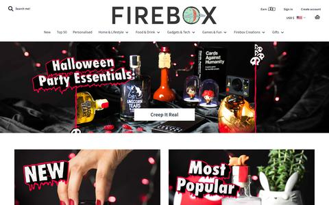 Screenshot of Home Page firebox.com - Unusual Gifts for People with Imagination | FIREBOX® - captured Oct. 17, 2018
