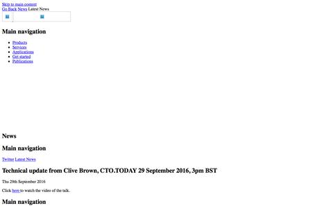 Technical update from Clive Brown, CTO.TODAY 29 September 2016, 3pm BST