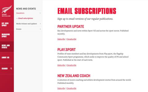 Screenshot of Signup Page sportnz.org.nz - Email subscriptions » Sport New Zealand - captured Oct. 1, 2018