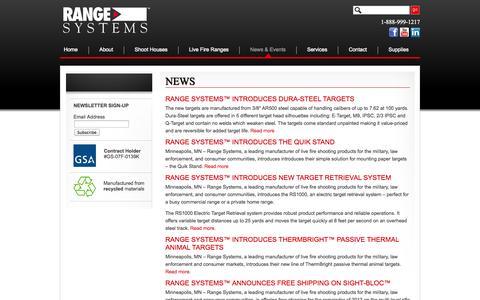 Screenshot of Press Page range-systems.com - News | Range-Systems - captured Oct. 27, 2014