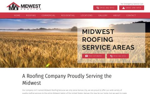 Screenshot of Locations Page midwestroofingkc.com - Roofing Contractor Service Areas | Midwest Roofing - captured Oct. 20, 2018