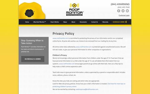 Screenshot of Privacy Page roofmonitor.com - Privacy Policy - captured Sept. 30, 2014