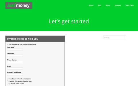 Screenshot of Contact Page justmoney.com.au - Let's get started - JustMoney - captured Aug. 8, 2016