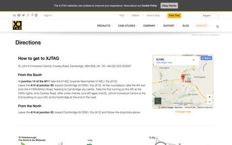 Screenshot of Maps & Directions Page xjtag.com - directions to XJTAG Cambridge - captured July 21, 2016