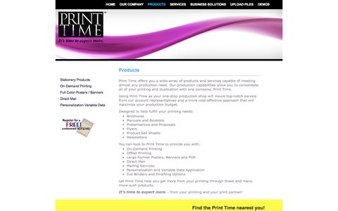 Screenshot of Products Page printtime.com - Products | Print Time - captured Sept. 30, 2014