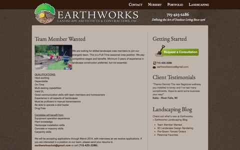 Screenshot of Blog earthworkslandscaping.com - Landscaping Contractor in River Falls, WI 54022 | Earthworks Landcsaping - captured Oct. 1, 2014