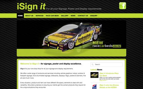 Screenshot of Home Page isignit.co.nz - Home : i Sign it - For all your Signage, Poster and Display Requirements - captured Sept. 30, 2014