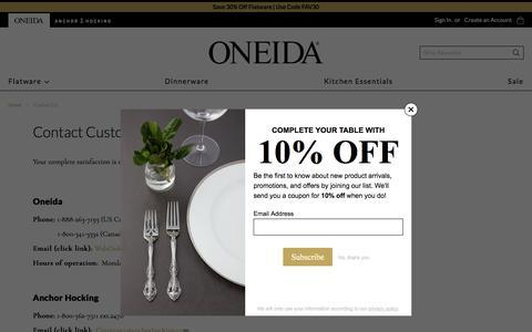Screenshot of Contact Page oneida.com - Contact Us - captured Aug. 17, 2019