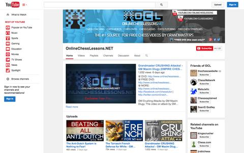 Screenshot of YouTube Page youtube.com - OnlineChessLessons.NET  - YouTube - captured Nov. 3, 2014
