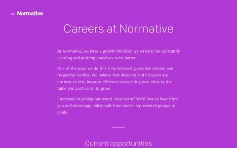 Screenshot of Jobs Page normative.com - Normative | Careers - captured Nov. 14, 2017