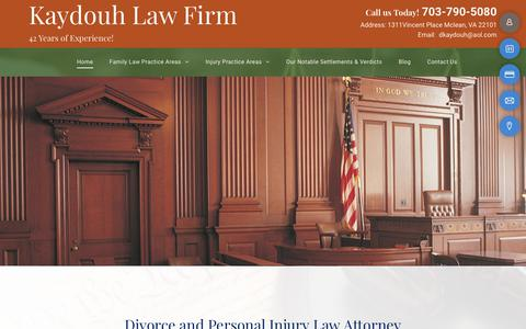 Screenshot of Home Page attorneykaydouh.com - Personal Injury Attorney | Mclean, VA| Law Office of Michael D. Kaydouh - captured Nov. 1, 2018