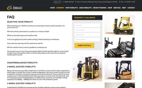 Screenshot of FAQ Page theforkliftcompany.net - FAQ - The Forklift Company - captured Nov. 16, 2017