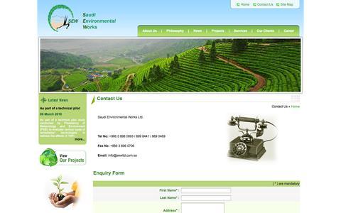 Screenshot of Contact Page sewltd.com.sa - Welcome To Saudi Environmental Works - captured Oct. 6, 2014