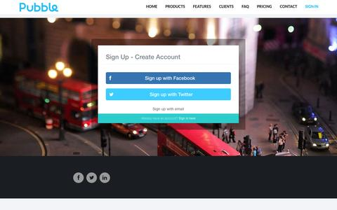 Screenshot of Signup Page pubble.io - Pubble - Sign up - captured Oct. 31, 2014